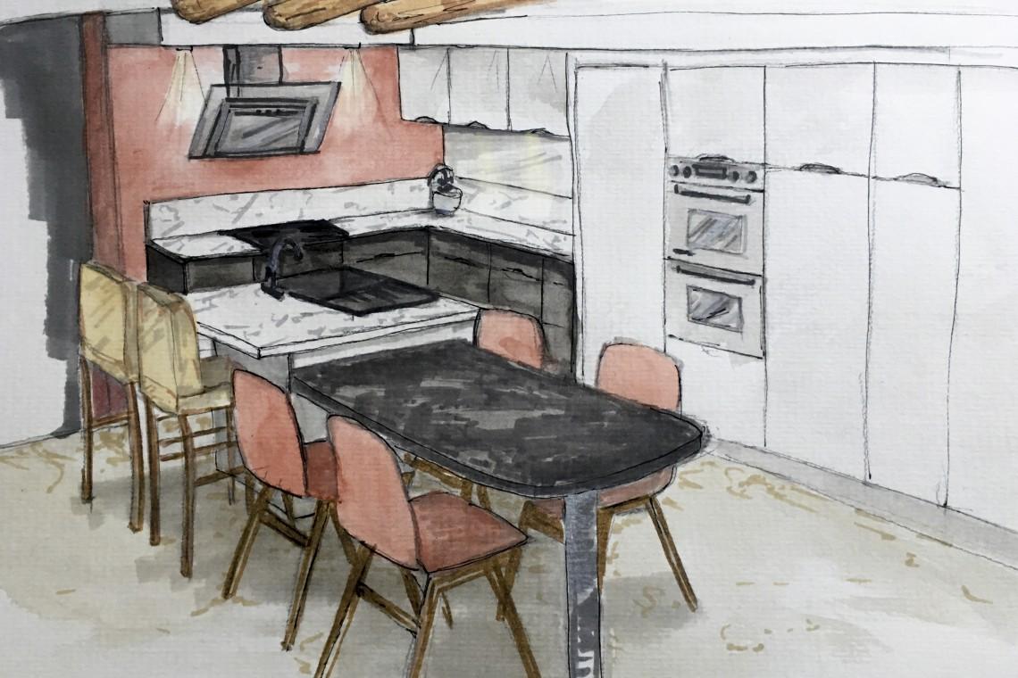 esquisse à l'aquarelle du projet de cuisine